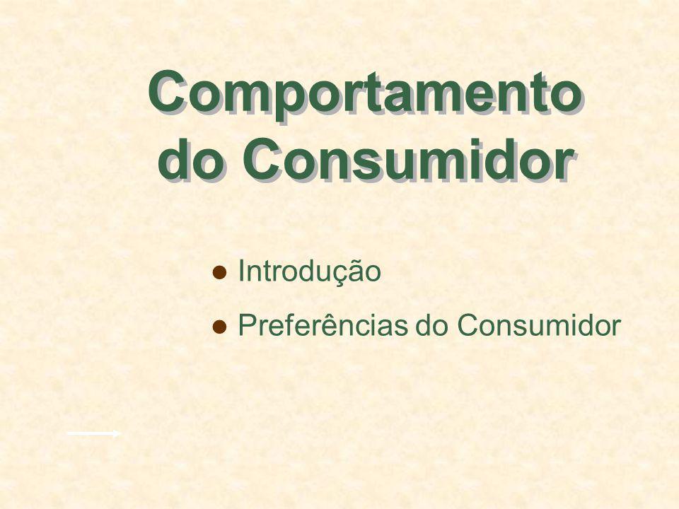 Preferências do Consumidor Uma curva de indiferença representa todas as combinações de cestas de mercado que proporcionam o mesmo nível de satisfação a uma pessoa.
