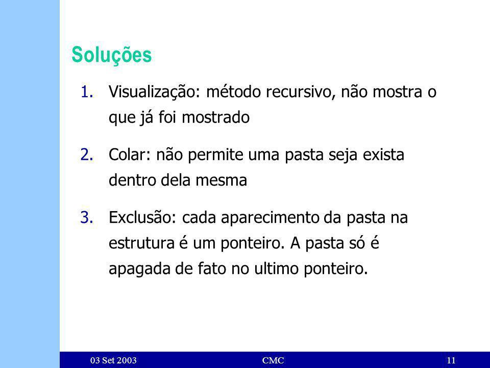 03 Set 2003CMC11 Soluções 1.Visualização: método recursivo, não mostra o que já foi mostrado 2.Colar: não permite uma pasta seja exista dentro dela mesma 3.Exclusão: cada aparecimento da pasta na estrutura é um ponteiro.