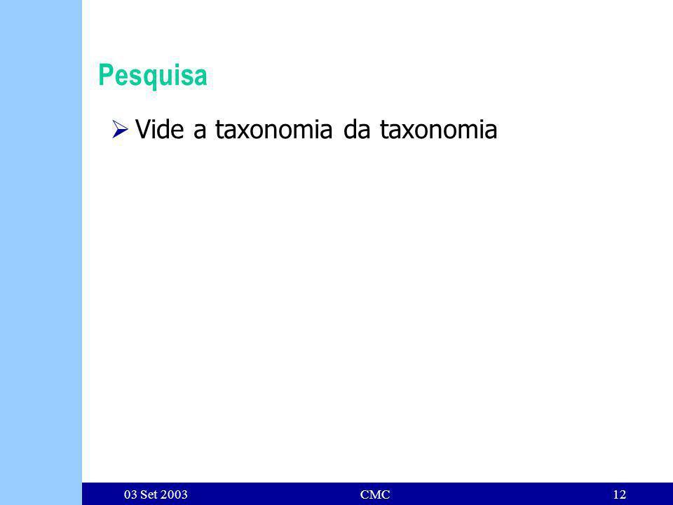 03 Set 2003CMC12 Pesquisa Vide a taxonomia da taxonomia