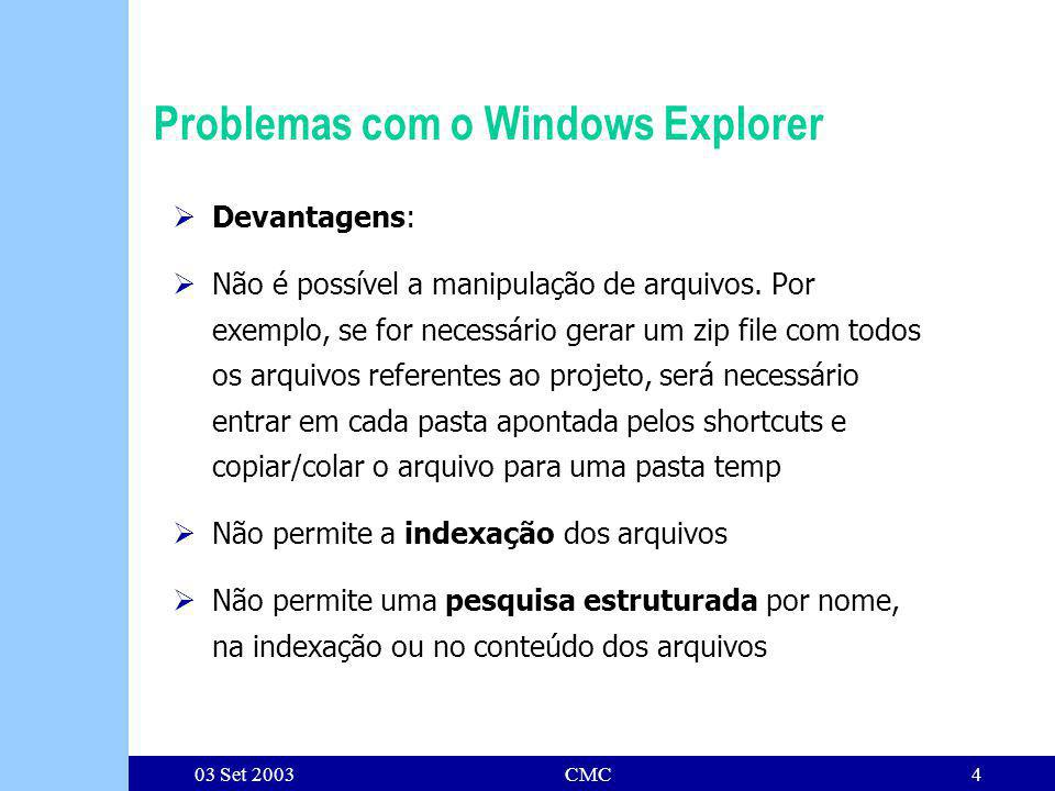 03 Set 2003CMC4 Problemas com o Windows Explorer Devantagens: Não é possível a manipulação de arquivos.