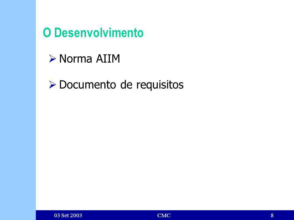 03 Set 2003CMC8 O Desenvolvimento Norma AIIM Documento de requisitos