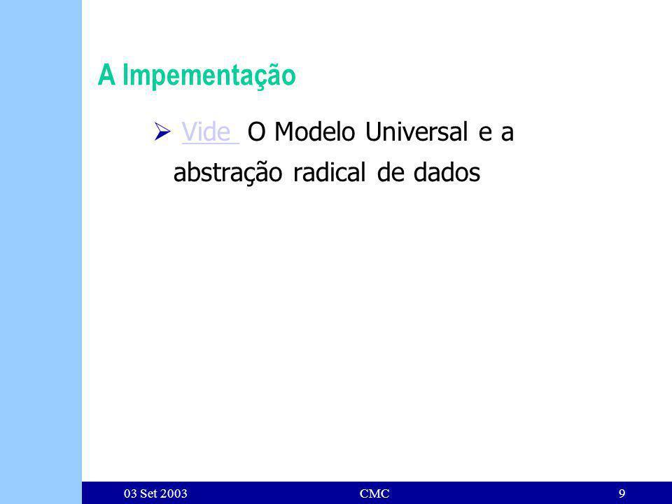 03 Set 2003CMC9 A Impementação Vide O Modelo Universal e a abstração radical de dadosVide