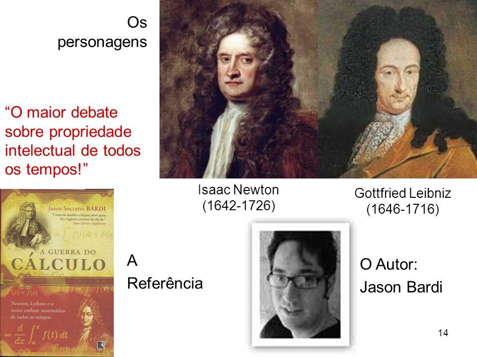 14 Isaac Newton (1642-1726) Gottfried Leibniz (1646-1716) Os personagens A Referência O Autor: Jason Bardi O maior debate sobre propriedade intelectual de todos os tempos!
