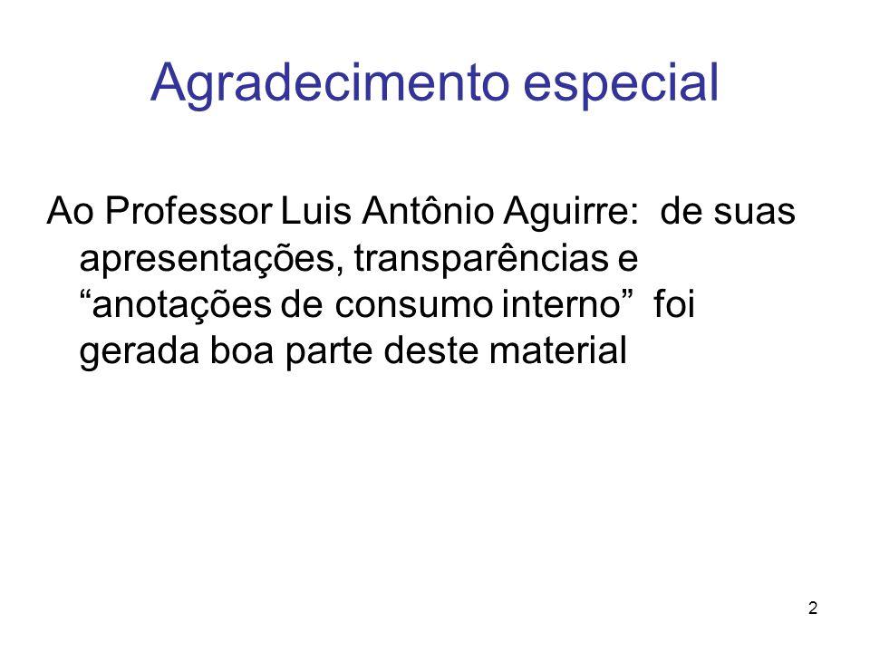 2 Agradecimento especial Ao Professor Luis Antônio Aguirre: de suas apresentações, transparências e anotações de consumo interno foi gerada boa parte deste material