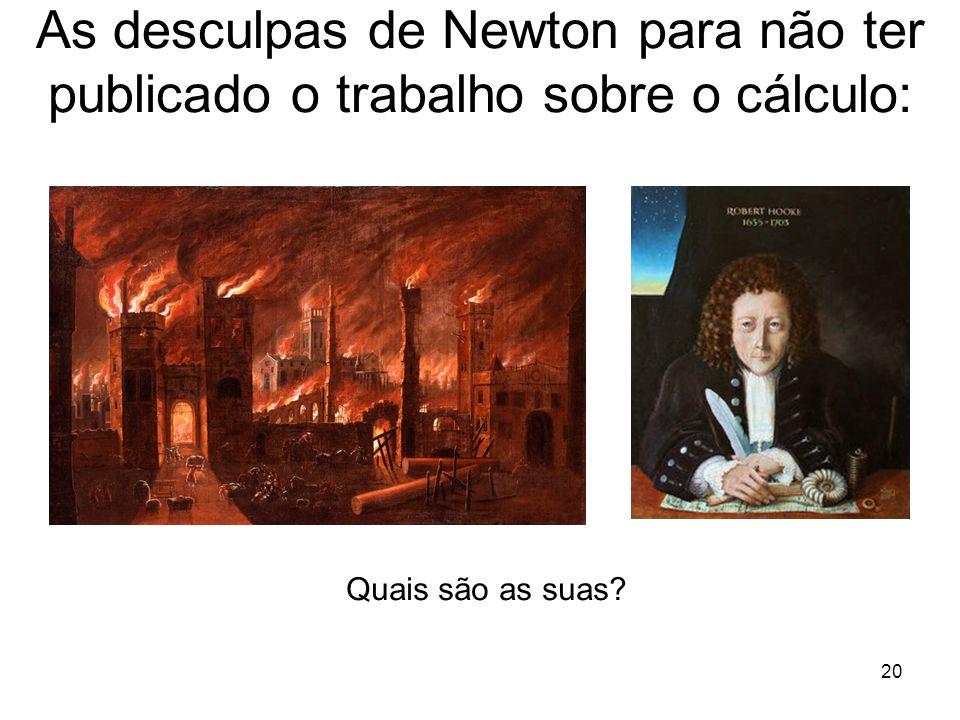 20 As desculpas de Newton para não ter publicado o trabalho sobre o cálculo: Quais são as suas?