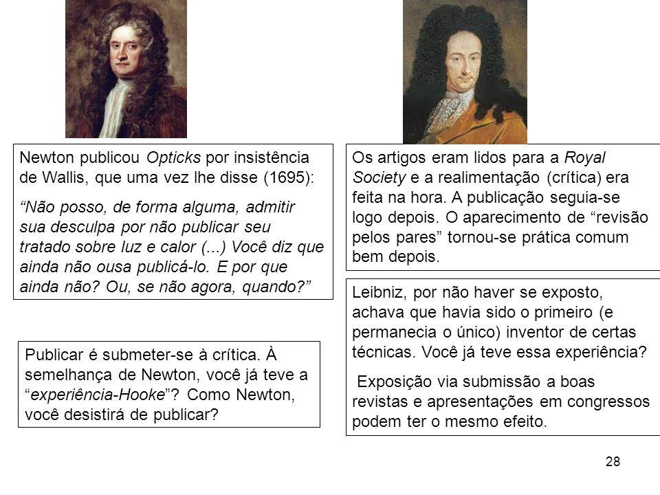 28 Newton publicou Opticks por insistência de Wallis, que uma vez lhe disse (1695): Não posso, de forma alguma, admitir sua desculpa por não publicar seu tratado sobre luz e calor (...) Você diz que ainda não ousa publicá-lo.