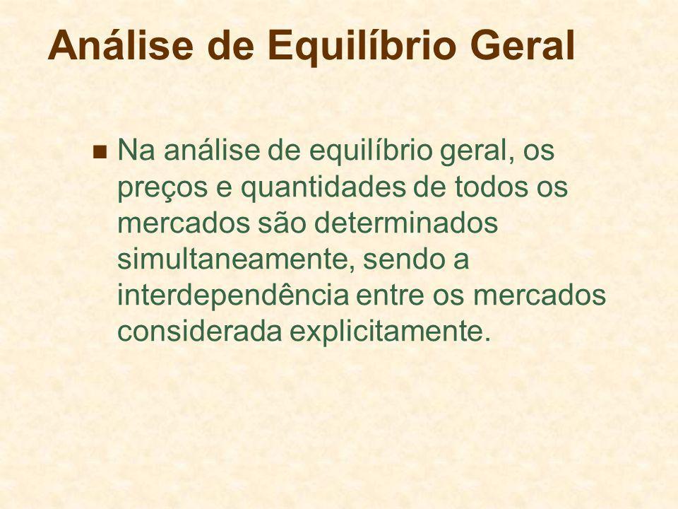 Análise de Equilíbrio Geral Na análise de equilíbrio geral, os preços e quantidades de todos os mercados são determinados simultaneamente, sendo a interdependência entre os mercados considerada explicitamente.