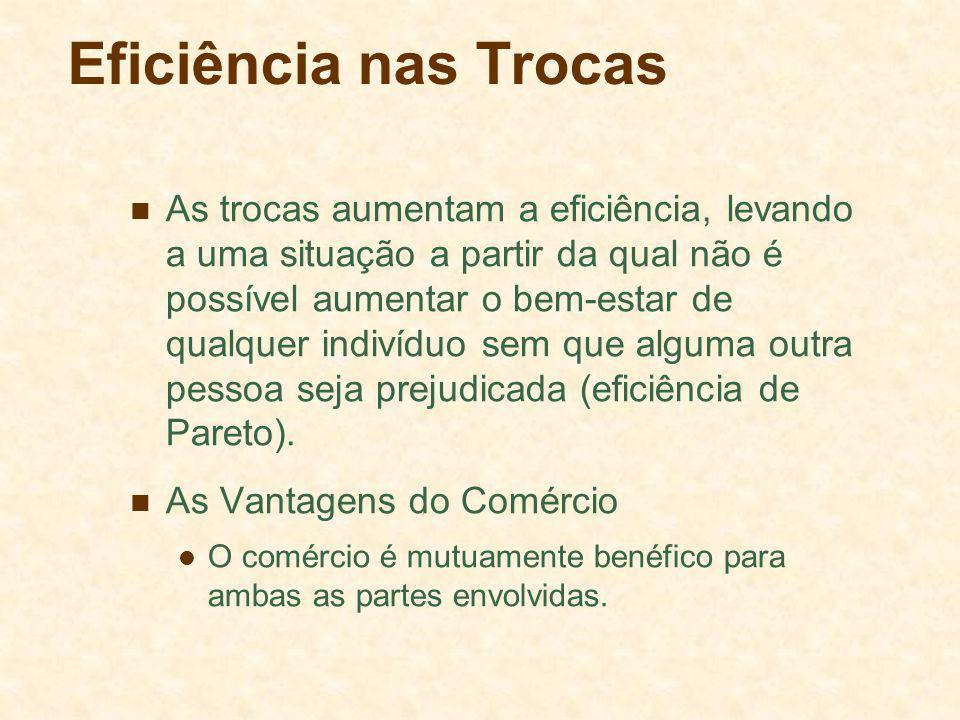 Eficiência nas Trocas As trocas aumentam a eficiência, levando a uma situação a partir da qual não é possível aumentar o bem-estar de qualquer indivíduo sem que alguma outra pessoa seja prejudicada (eficiência de Pareto).