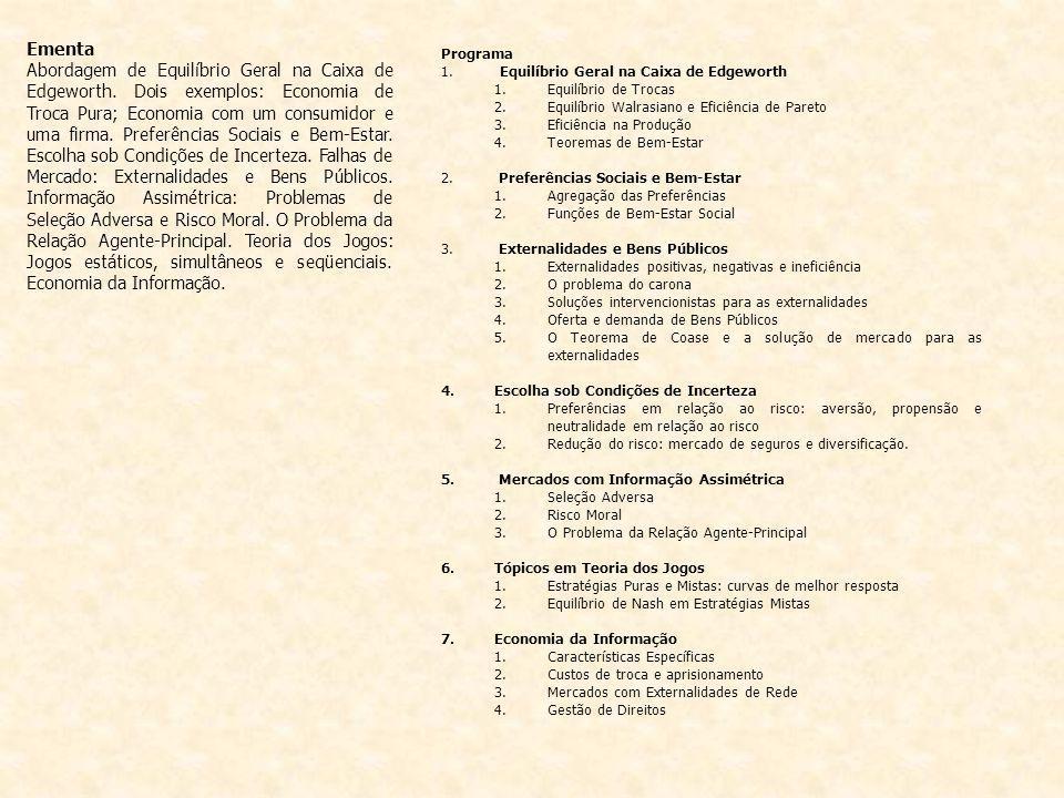 Bibliografia Básica VARIAN, H.Microeconomia: princípios básicos.
