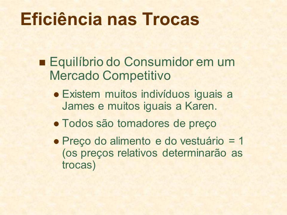 Eficiência nas Trocas Equilíbrio do Consumidor em um Mercado Competitivo Existem muitos indivíduos iguais a James e muitos iguais a Karen.