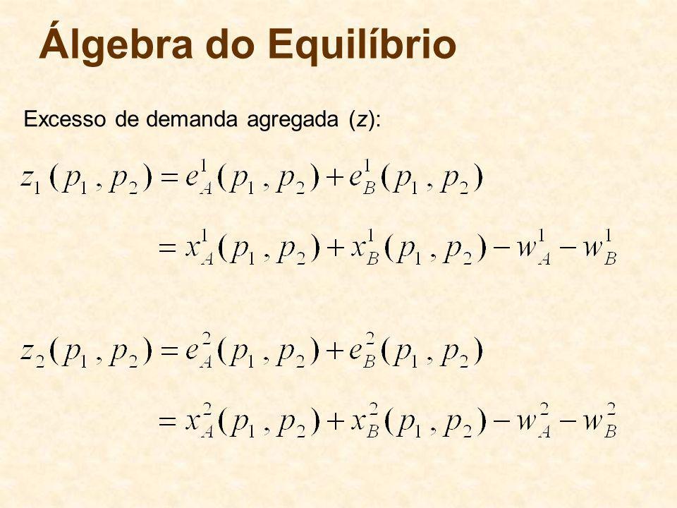 Álgebra do Equilíbrio Excesso de demanda agregada (z):