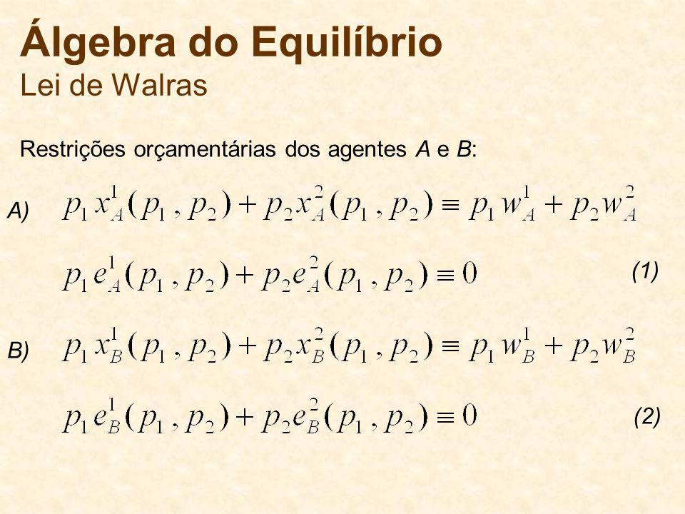 Álgebra do Equilíbrio Lei de Walras Restrições orçamentárias dos agentes A e B: A) B) (1) (2)