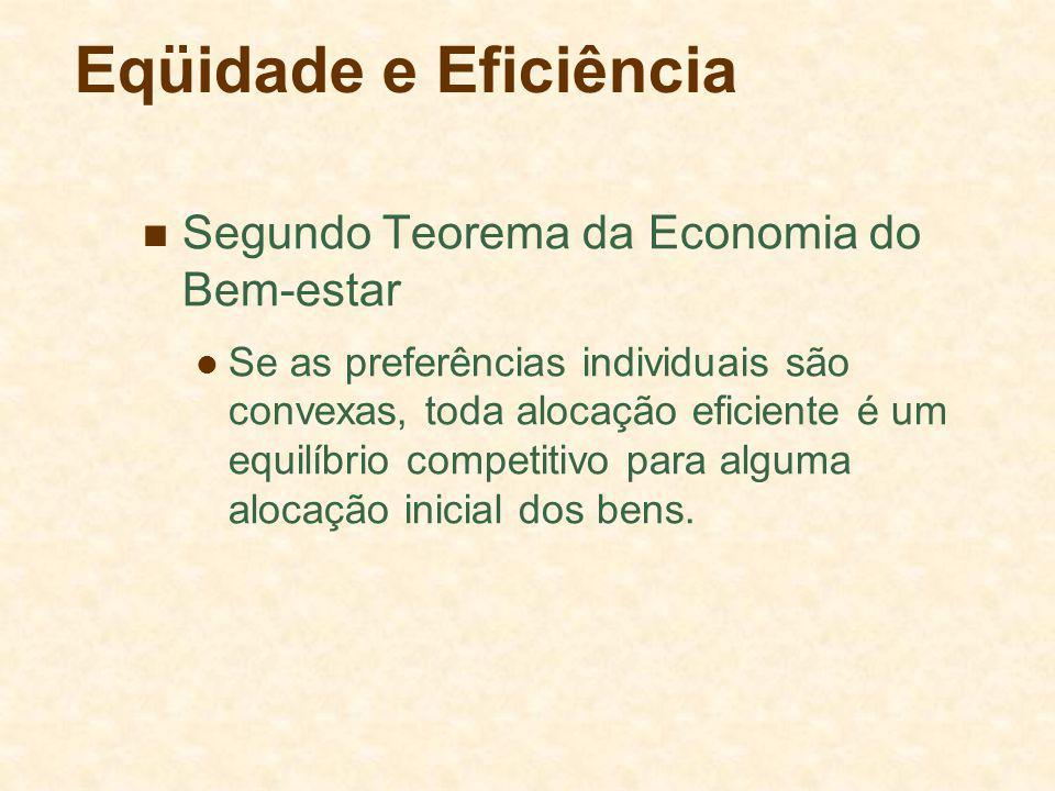 Eqüidade e Eficiência Segundo Teorema da Economia do Bem-estar Se as preferências individuais são convexas, toda alocação eficiente é um equilíbrio competitivo para alguma alocação inicial dos bens.