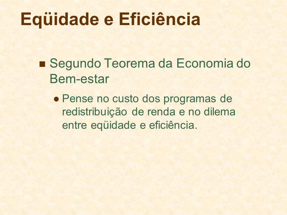 Eqüidade e Eficiência Segundo Teorema da Economia do Bem-estar Pense no custo dos programas de redistribuição de renda e no dilema entre eqüidade e eficiência.