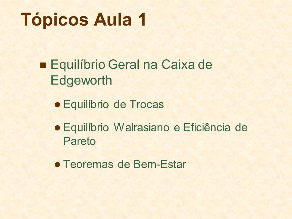 Tópicos Aula 1 Equilíbrio Geral na Caixa de Edgeworth Equilíbrio de Trocas Equilíbrio Walrasiano e Eficiência de Pareto Teoremas de Bem-Estar