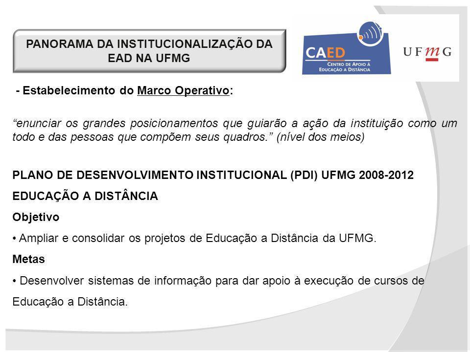 PANORAMA DA INSTITUCIONALIZAÇÃO DA EAD NA UFMG - Estabelecimento do Marco Operativo: enunciar os grandes posicionamentos que guiarão a ação da institu