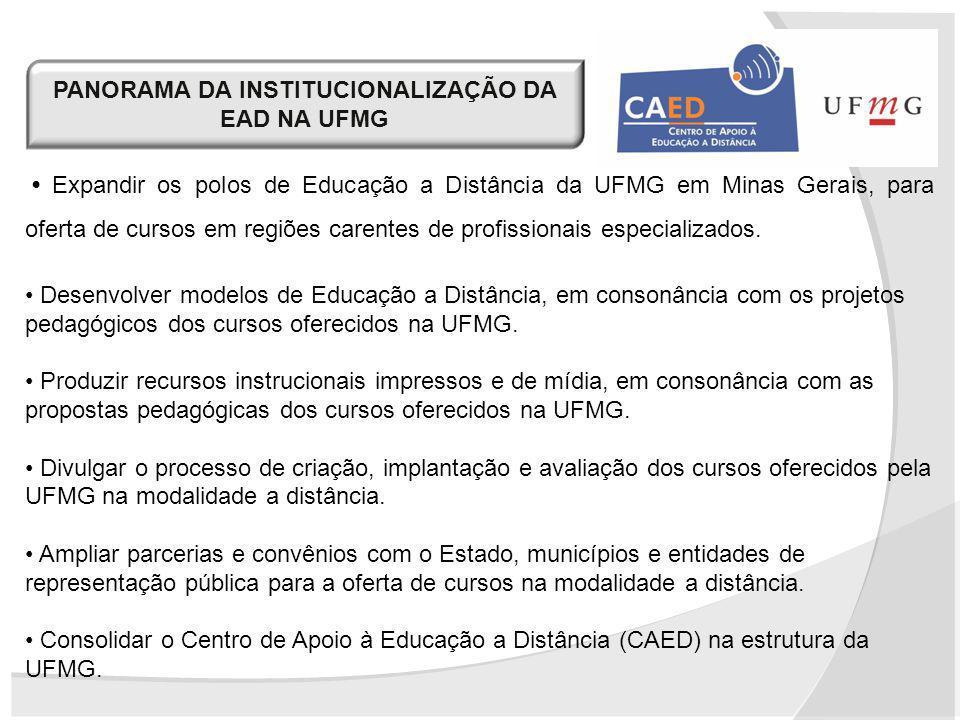 PANORAMA DA INSTITUCIONALIZAÇÃO DA EAD NA UFMG Expandir os polos de Educação a Distância da UFMG em Minas Gerais, para oferta de cursos em regiões car