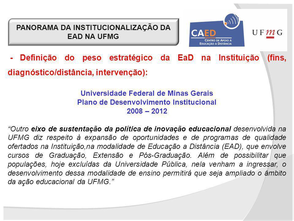 PANORAMA DA INSTITUCIONALIZAÇÃO DA EAD NA UFMG - Definição do peso estratégico da EaD na Instituição (fins, diagnóstico/distância, intervenção): Unive