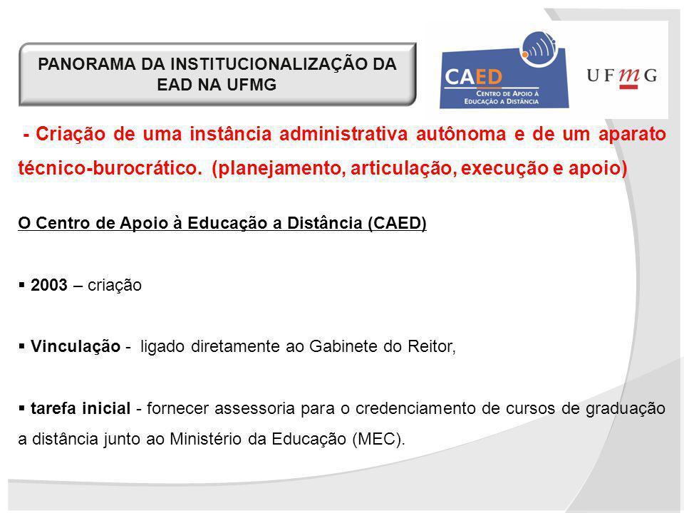 PANORAMA DA INSTITUCIONALIZAÇÃO DA EAD NA UFMG - Criação de uma instância administrativa autônoma e de um aparato técnico-burocrático. (planejamento,