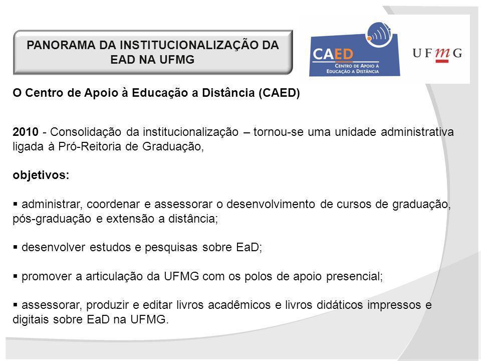 PANORAMA DA INSTITUCIONALIZAÇÃO DA EAD NA UFMG O Centro de Apoio à Educação a Distância (CAED) 2010 - Consolidação da institucionalização – tornou-se