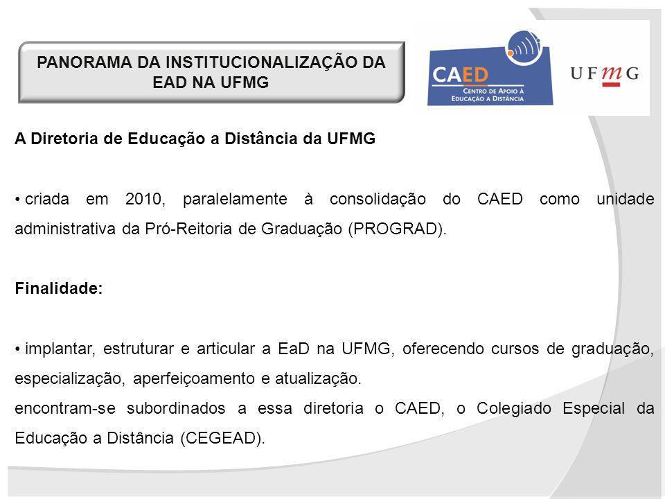 PANORAMA DA INSTITUCIONALIZAÇÃO DA EAD NA UFMG A Diretoria de Educação a Distância da UFMG criada em 2010, paralelamente à consolidação do CAED como u