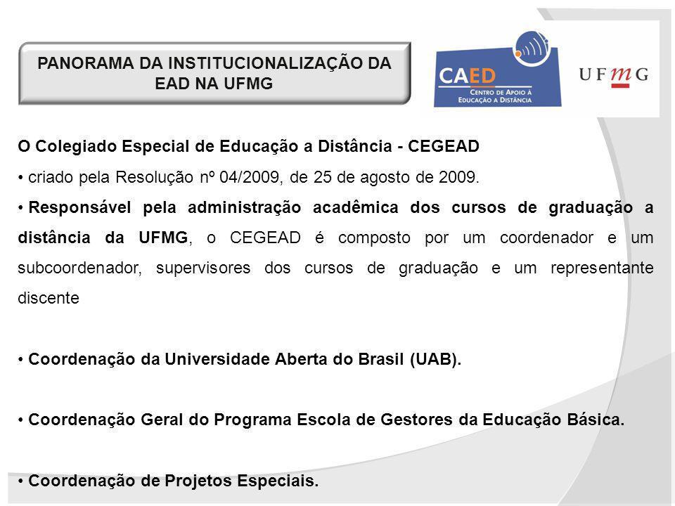 PANORAMA DA INSTITUCIONALIZAÇÃO DA EAD NA UFMG O Colegiado Especial de Educação a Distância - CEGEAD criado pela Resolução nº 04/2009, de 25 de agosto