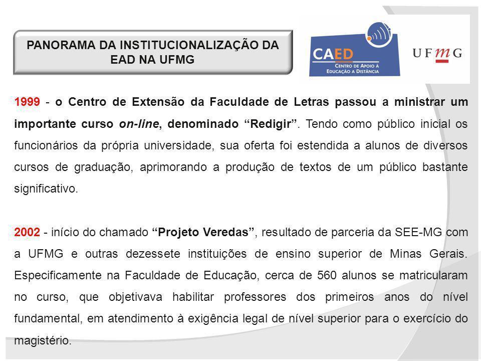 1999 - o Centro de Extensão da Faculdade de Letras passou a ministrar um importante curso on-line, denominado Redigir. Tendo como público inicial os f