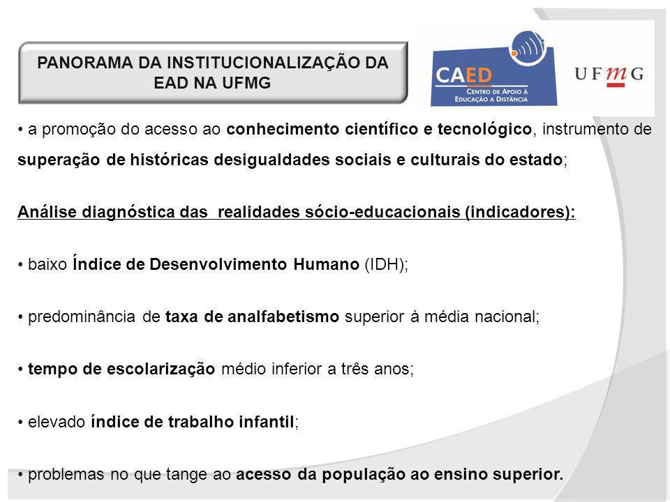 PANORAMA DA INSTITUCIONALIZAÇÃO DA EAD NA UFMG a promoção do acesso ao conhecimento científico e tecnológico, instrumento de superação de históricas d