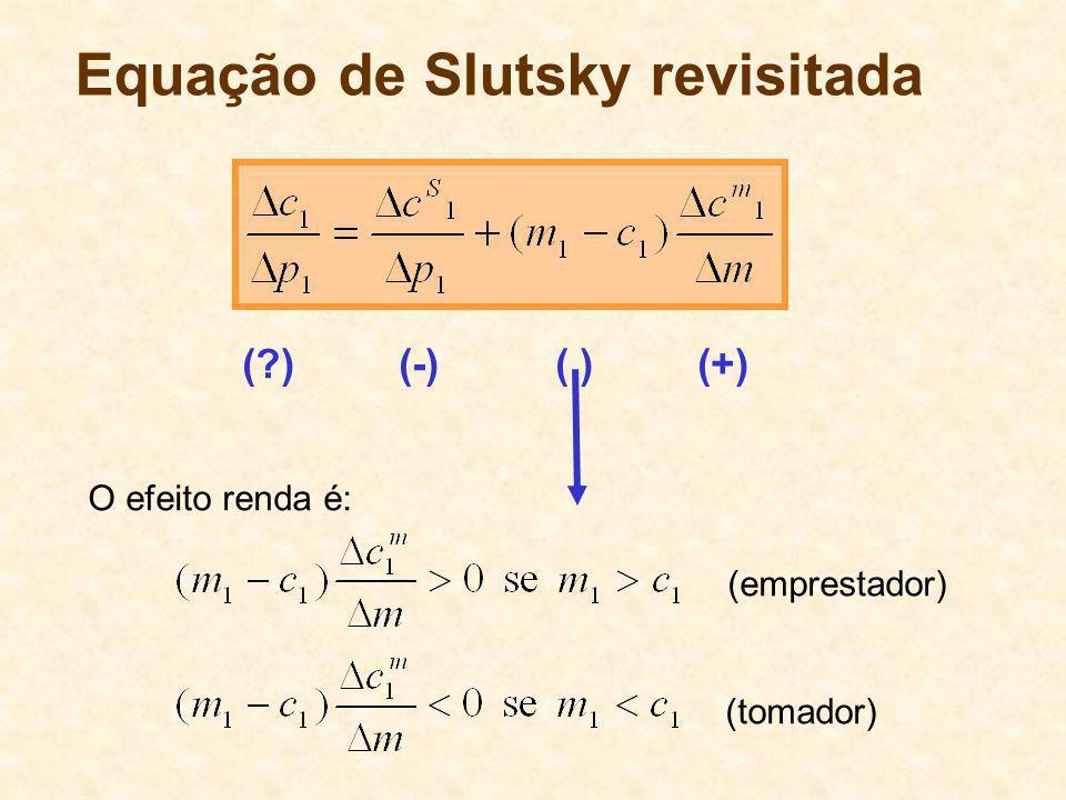 Equação de Slutsky revisitada O efeito renda é: (emprestador) (tomador) (?) (-) ( ) (+)
