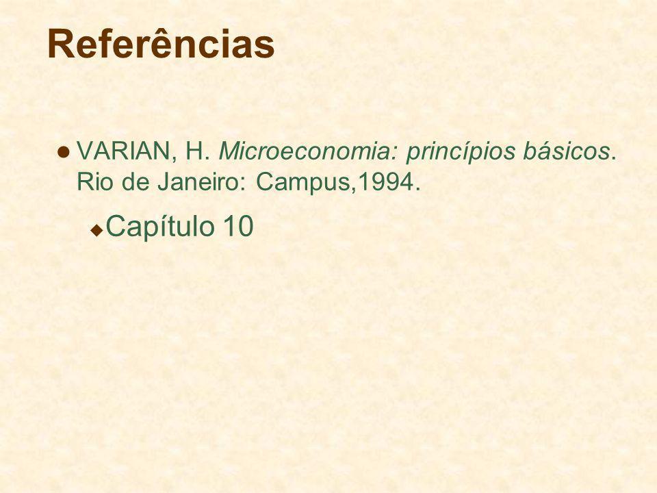 Referências VARIAN, H. Microeconomia: princípios básicos. Rio de Janeiro: Campus,1994. Capítulo 10