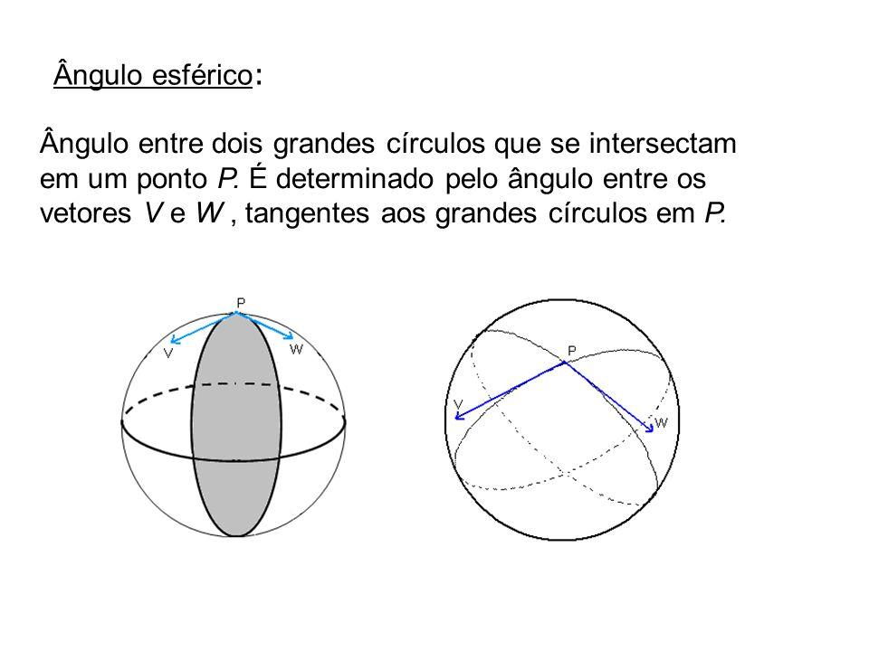 Triângulo esférico: É formado por três pontos distintos A, B, C e pelos arcos geodésicos AB, AC, BC.