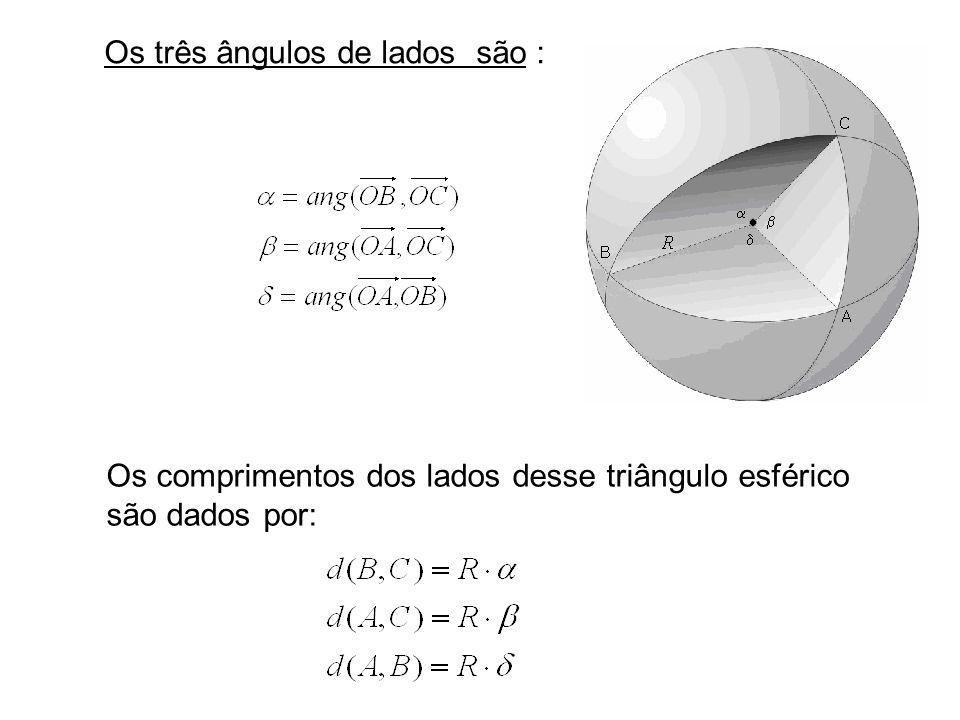 Os três ângulos de vértices são : podem ser dados por: Os ângulos