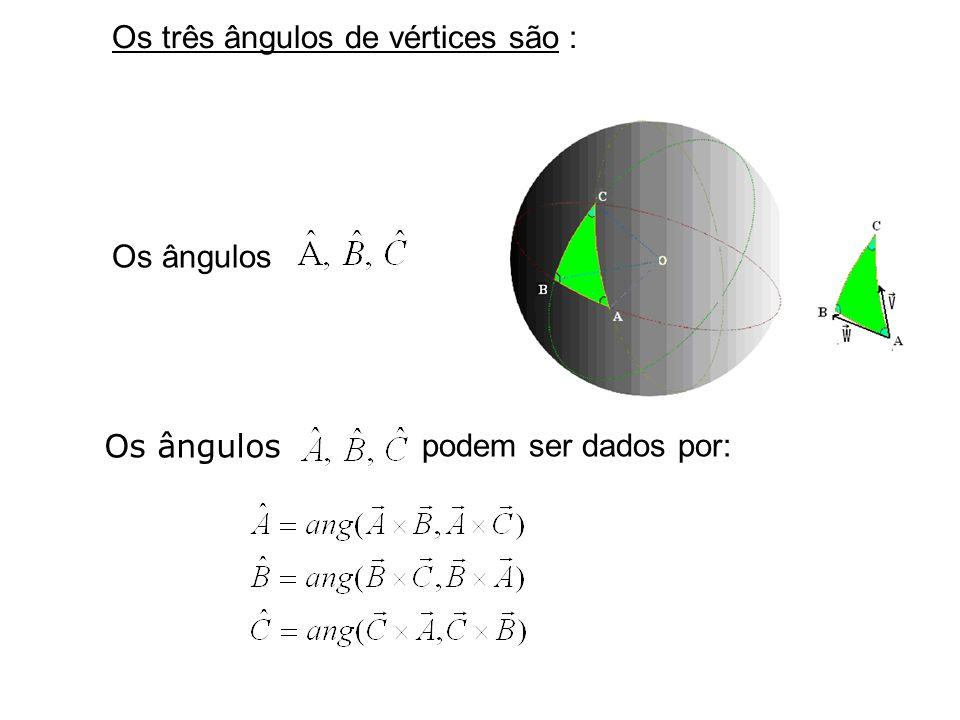 Lei dos cossenos : Seja dado um triângulo esférico ABC em uma esfera S de raio R. Então