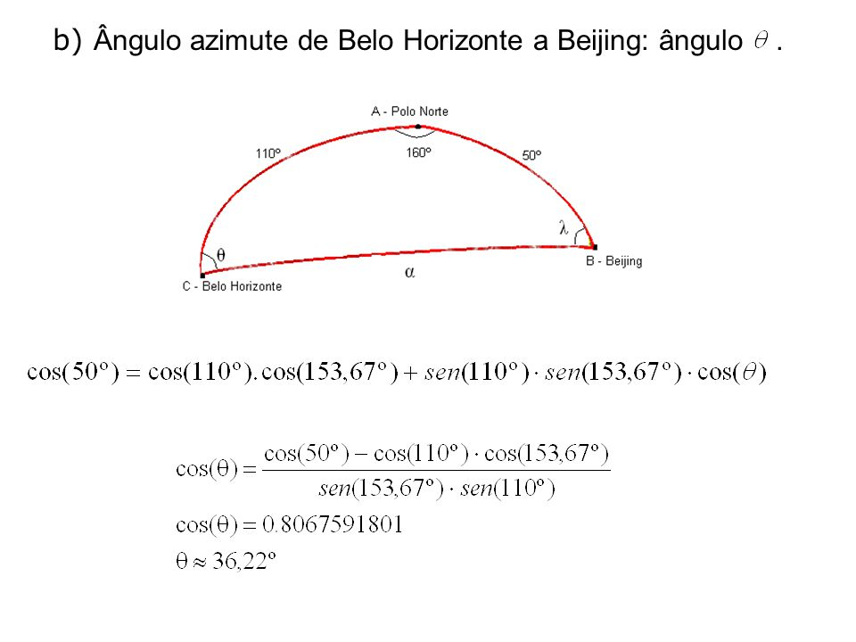 c) Ângulo azimute e de Beijing a Belo Horizonte: ângulo.