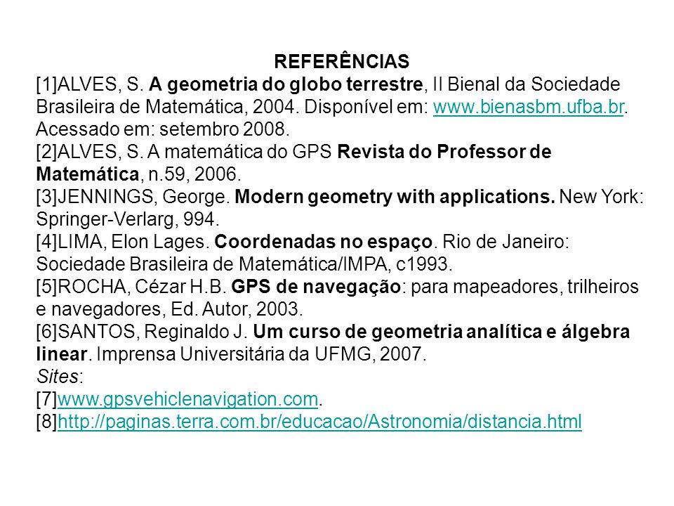 REFERÊNCIAS [1]ALVES, S. A geometria do globo terrestre, II Bienal da Sociedade Brasileira de Matemática, 2004. Disponível em: www.bienasbm.ufba.br. A