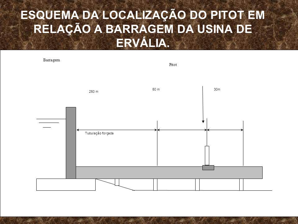 ESQUEMA DA LOCALIZAÇÃO DO PITOT EM RELAÇÃO A BARRAGEM DA USINA DE ERVÁLIA.