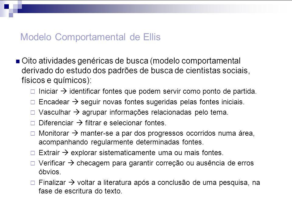 Modelo Comportamental de Ellis Oito atividades genéricas de busca (modelo comportamental derivado do estudo dos padrões de busca de cientistas sociais