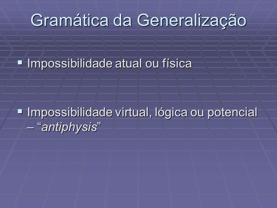Gramática da Generalização Impossibilidade atual ou física Impossibilidade atual ou física Impossibilidade virtual, lógica ou potencial – antiphysis Impossibilidade virtual, lógica ou potencial – antiphysis