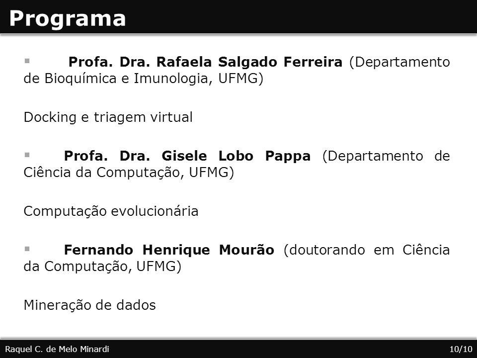 Programa Profa. Dra. Rafaela Salgado Ferreira (Departamento de Bioquímica e Imunologia, UFMG) Docking e triagem virtual Profa. Dra. Gisele Lobo Pappa