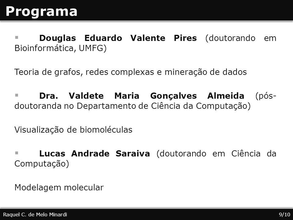 Programa Raquel C. de Melo Minardi9/10 Douglas Eduardo Valente Pires (doutorando em Bioinformática, UMFG) Teoria de grafos, redes complexas e mineraçã