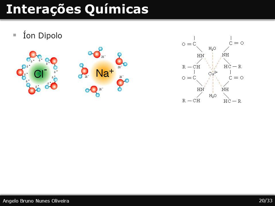 20/33 Angelo Bruno Nunes Oliveira Interações Químicas Íon Dipolo