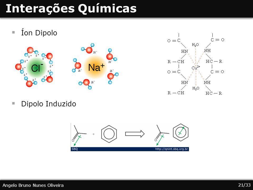 21/33 Angelo Bruno Nunes Oliveira Interações Químicas Íon Dipolo Dipolo Induzido