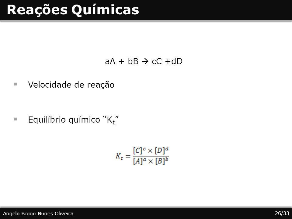 26/33 Angelo Bruno Nunes Oliveira Reações Químicas aA + bB cC +dD Velocidade de reação Equilíbrio químico K t