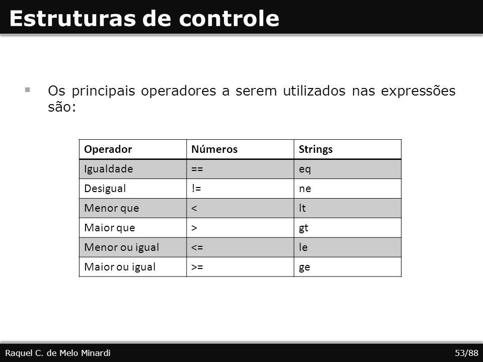 Estruturas de controle Os principais operadores a serem utilizados nas expressões são: Raquel C. de Melo Minardi53/88 OperadorNúmerosStrings Igualdade