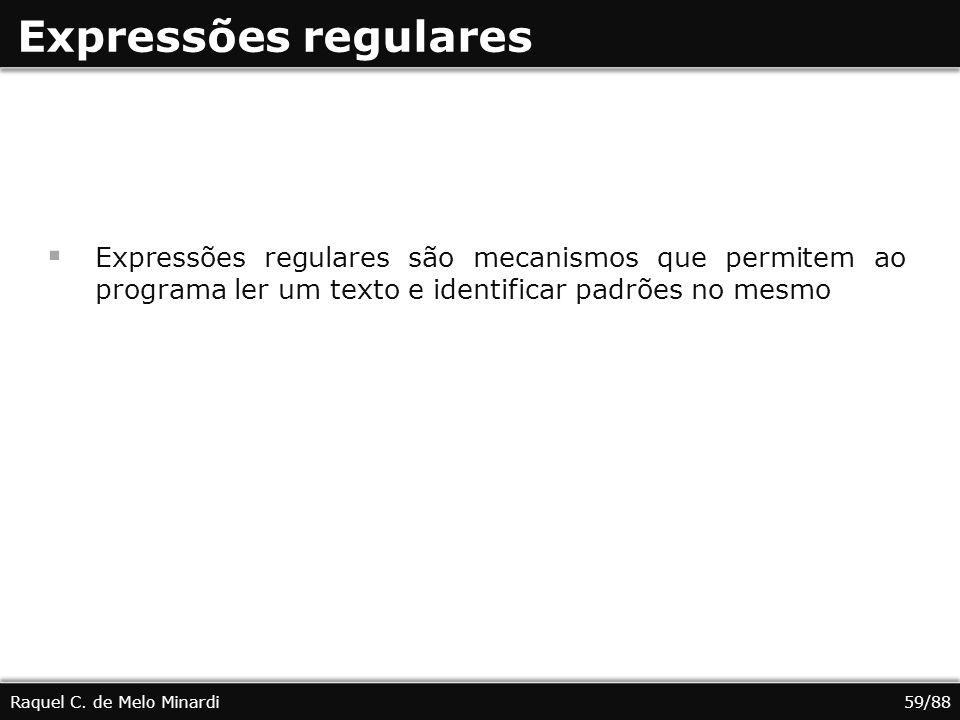 Expressões regulares Expressões regulares são mecanismos que permitem ao programa ler um texto e identificar padrões no mesmo Raquel C.