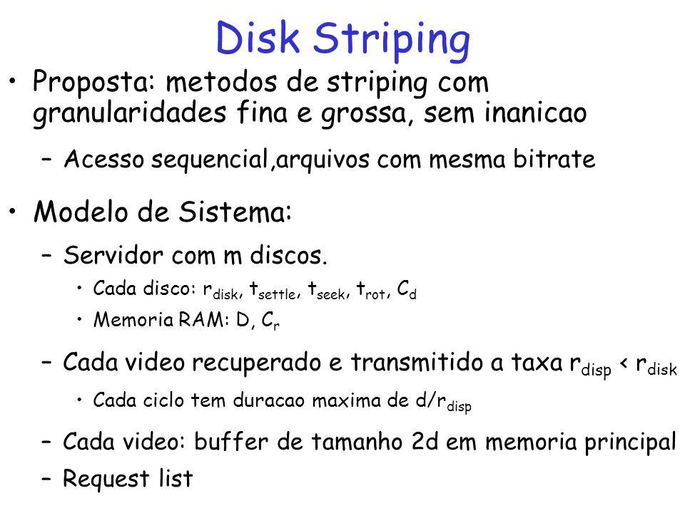 Proposta: metodos de striping com granularidades fina e grossa, sem inanicao –Acesso sequencial,arquivos com mesma bitrate Modelo de Sistema: –Servido
