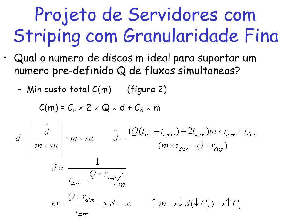 Qual o numero de discos m ideal para suportar um numero pre-definido Q de fluxos simultaneos? –Min custo total C(m) (figura 2) C(m) = C r 2 Q d + C d
