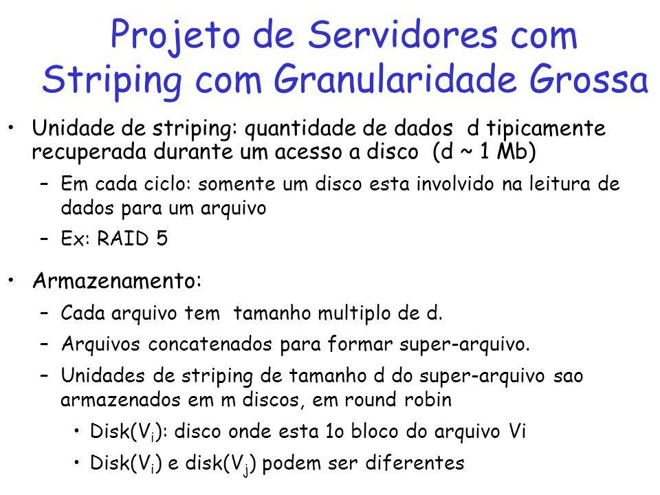 Unidade de striping: quantidade de dados d tipicamente recuperada durante um acesso a disco (d ~ 1 Mb) –Em cada ciclo: somente um disco esta involvido