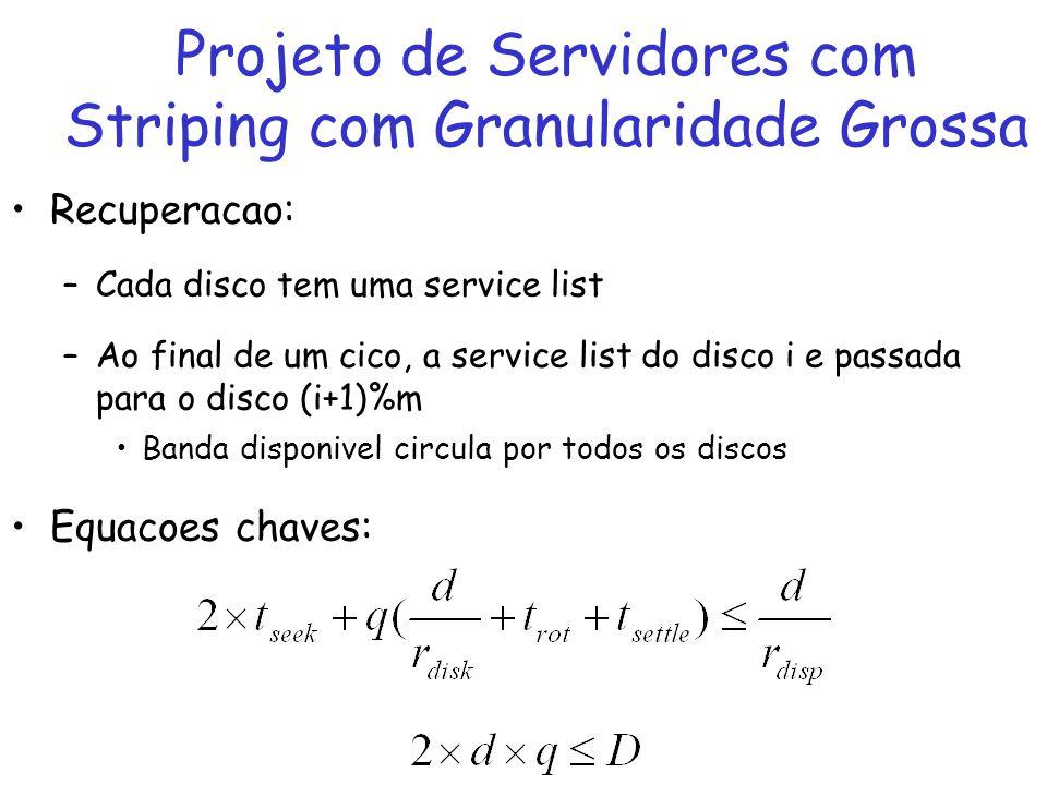 Recuperacao: –Cada disco tem uma service list –Ao final de um cico, a service list do disco i e passada para o disco (i+1)%m Banda disponivel circula