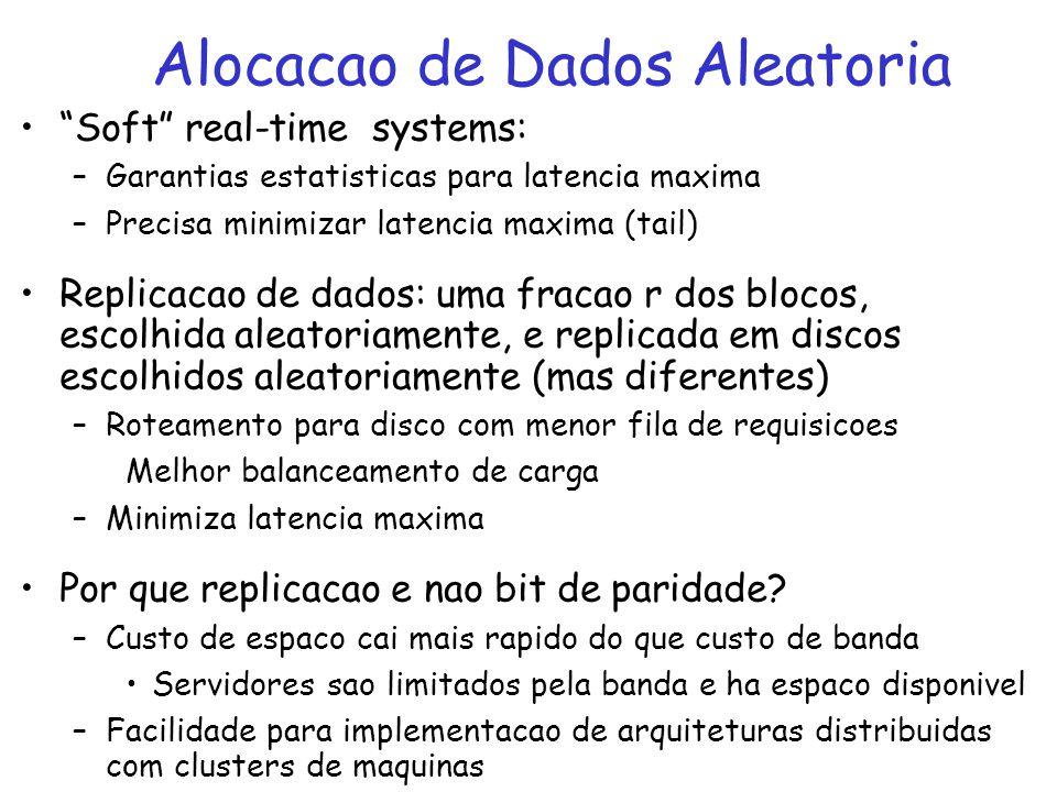 Soft real-time systems: –Garantias estatisticas para latencia maxima –Precisa minimizar latencia maxima (tail) Replicacao de dados: uma fracao r dos b